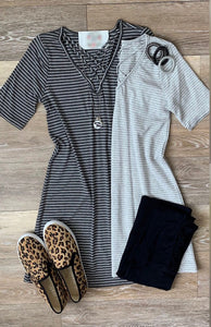 Light Grey Criss Cross Tee- T396