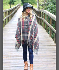 Plaid Button Poncho - T227