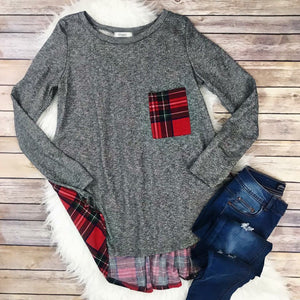 Plaid Pocket Top - T245