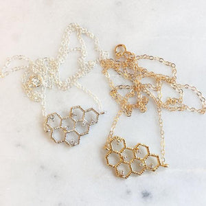 RGD Gold Honeycomb Necklace- B109