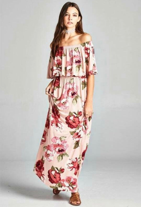 Ashlyn Blush Floral Dress - T110