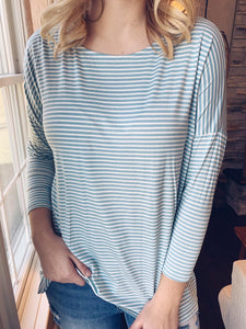 Blue Stripe 3/4 Sleeve Top