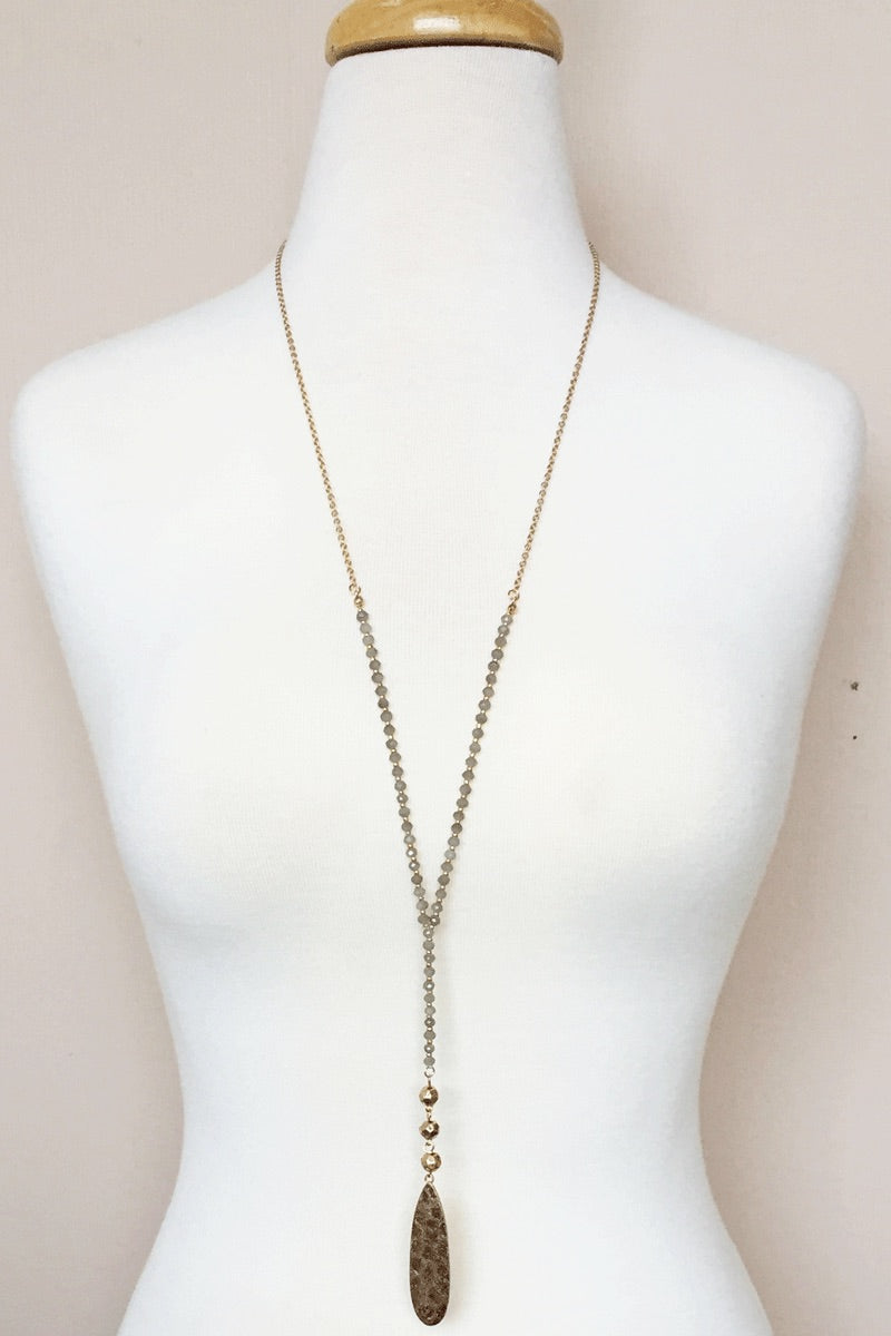 Grey Beaded Necklace - B45