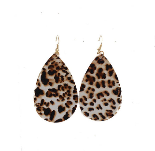 Leopard Leather Earrings- B26