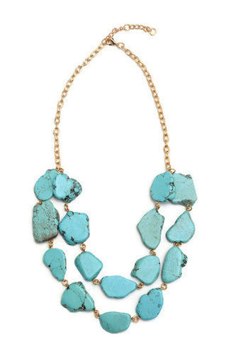Double Turquoise Rivulet Necklace - B27