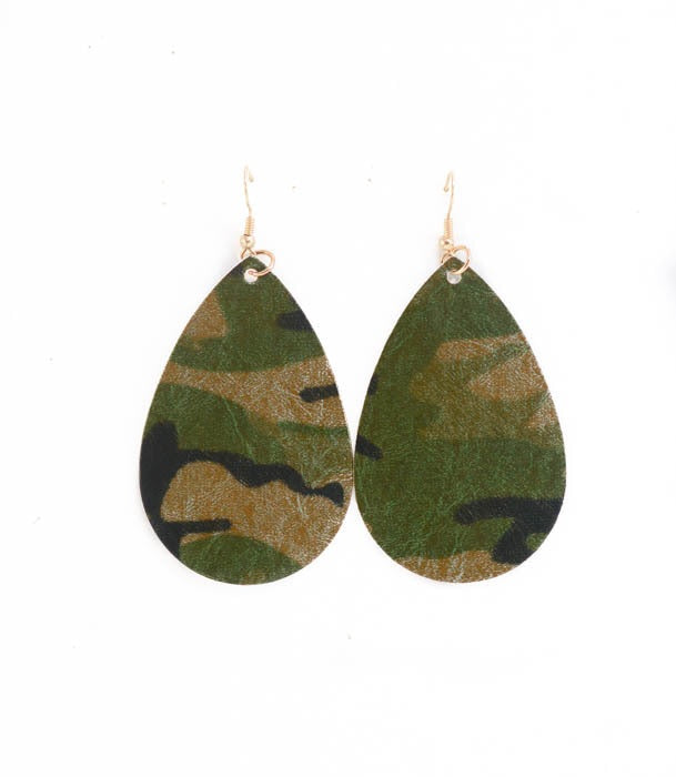 Camo Leather Earrings- B32