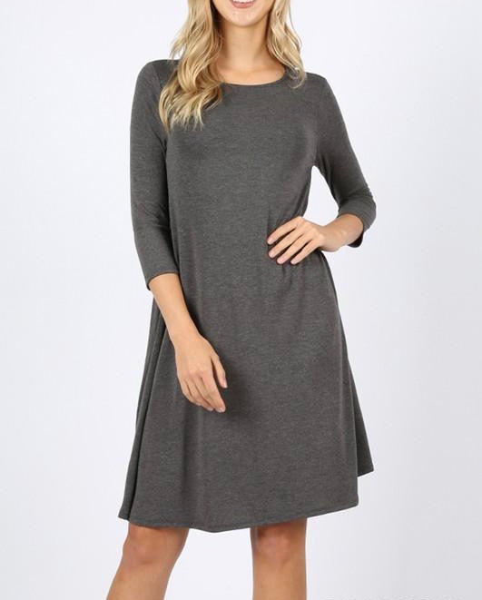 Charcoal 3/4 Sleeve Dress