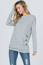 Stripe Button Top- T242