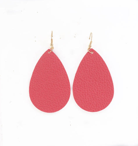 Pink Leather Earrings- B31