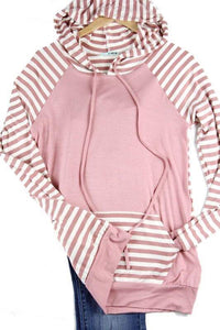Pink Stripe Hooded Sweatshirt- T387