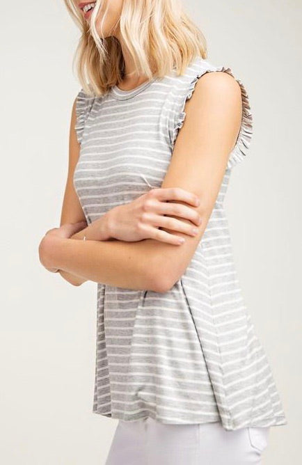 Heather Grey Stripe Tank - T463