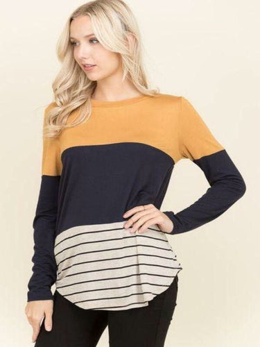 Color Block Stripe Top- T254
