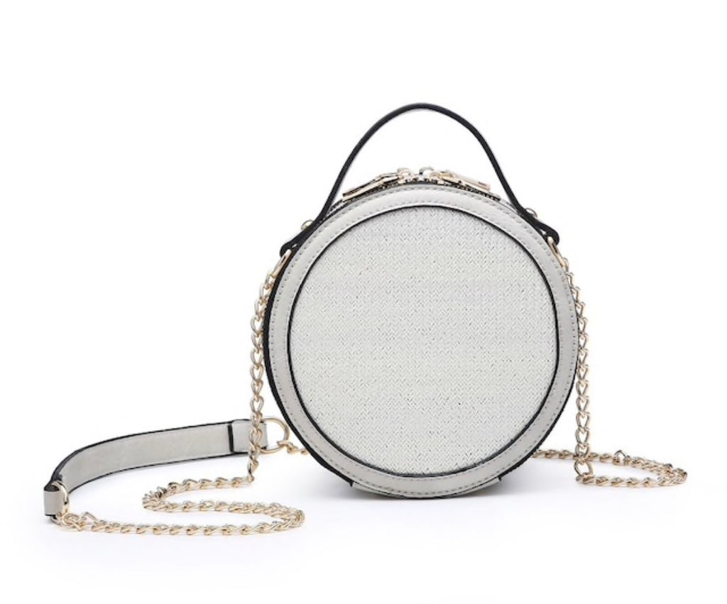 Light Grey Straw Crossbody
