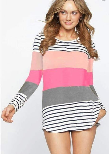 Stripe Color block Top- T401