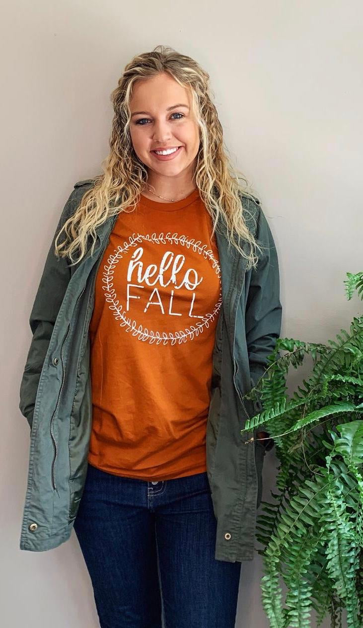 Hello Fall Rust Tee- T792