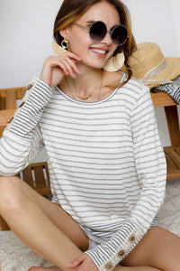 Boat-neck Striped Button Lace Sleeve