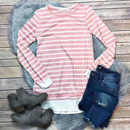 Pink and White Stripe Top- T413