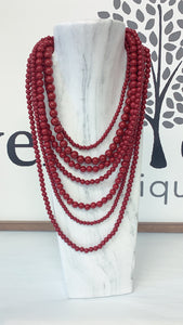 Red Multi Strand Necklace/ Earring Set