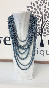 Grey Multi Strand Necklace/Earring Set