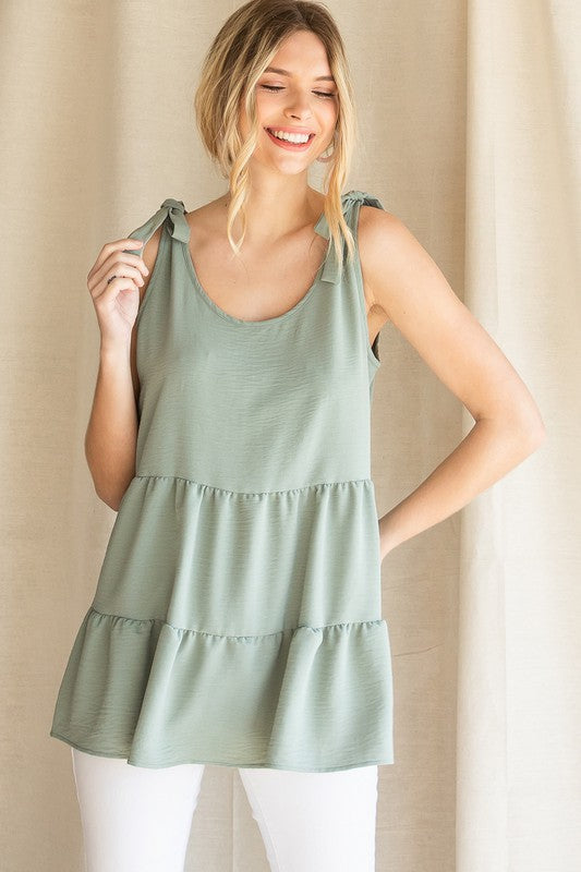 Tiered Baby Doll Tank (Sage)