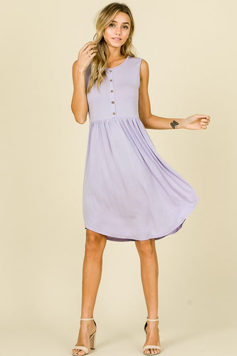 Lilac Button Dress - T418