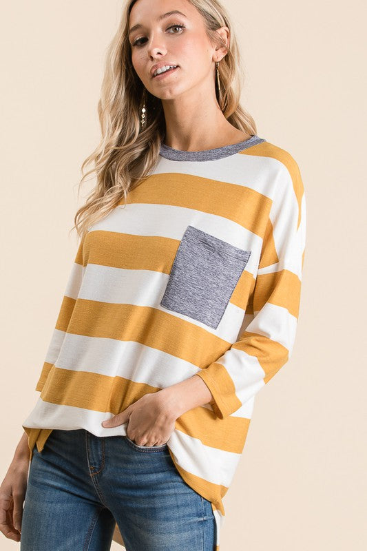 Mustard Stripe Top - T1074
