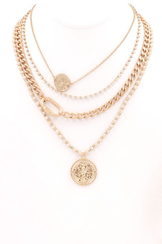Nude Layered Charm Necklace
