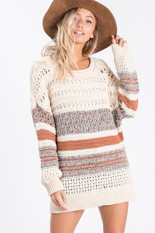 Oatmeal Multi Thread Sweater - T1063