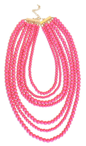 Pink Beaded Necklace - B59