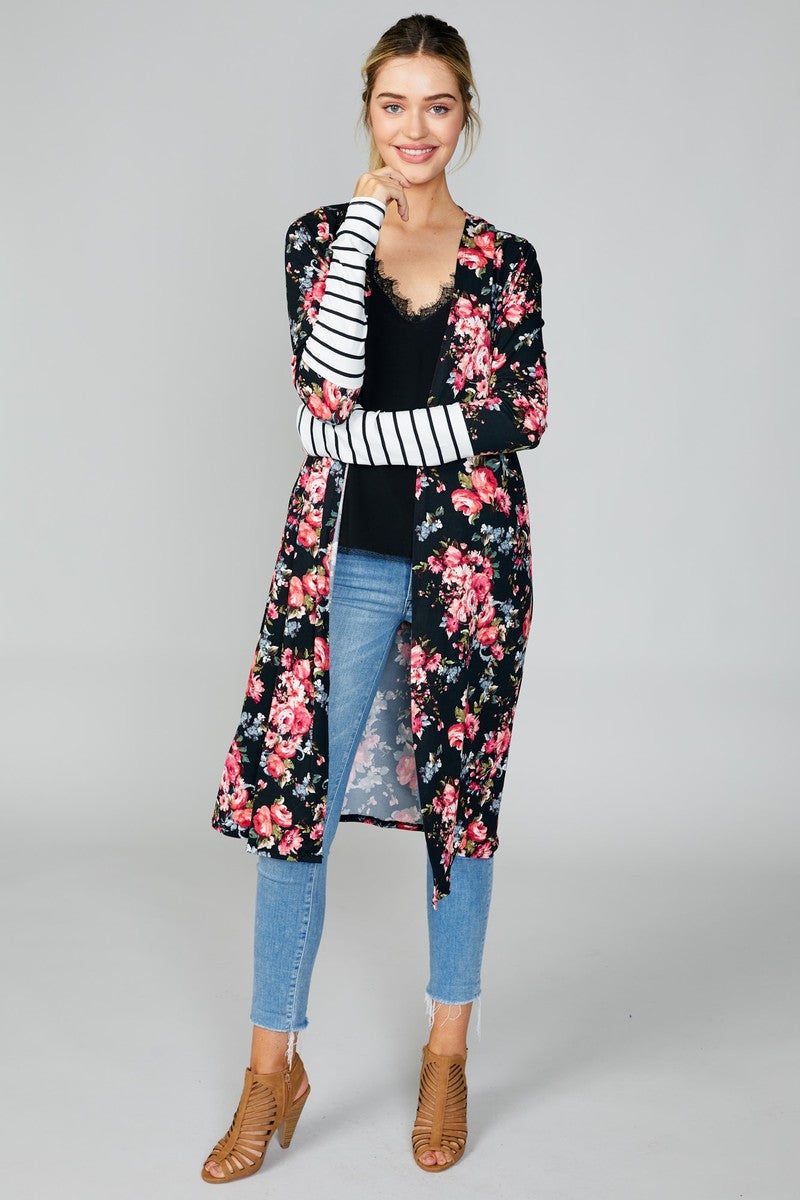 Floral Stripe Sleeve Cardigan- T820