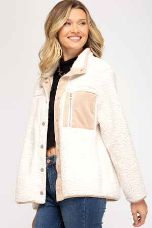 Cream Sherpa Button Up Jacket
