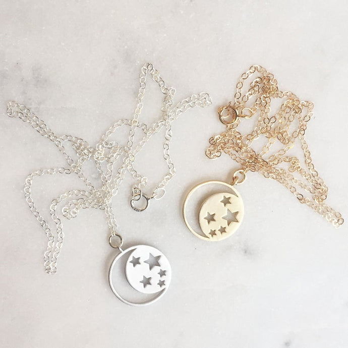 RGD Moon and Stars Charm Necklace - Silver- B108