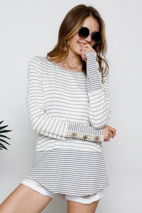 Stripe Button Top