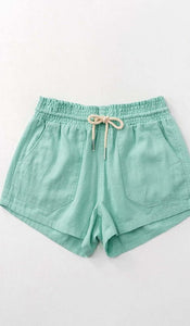 Mint Drawstring Linen Shorts