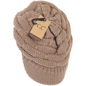 C.C Ribbed Knit Hat w/Brim -Taupe