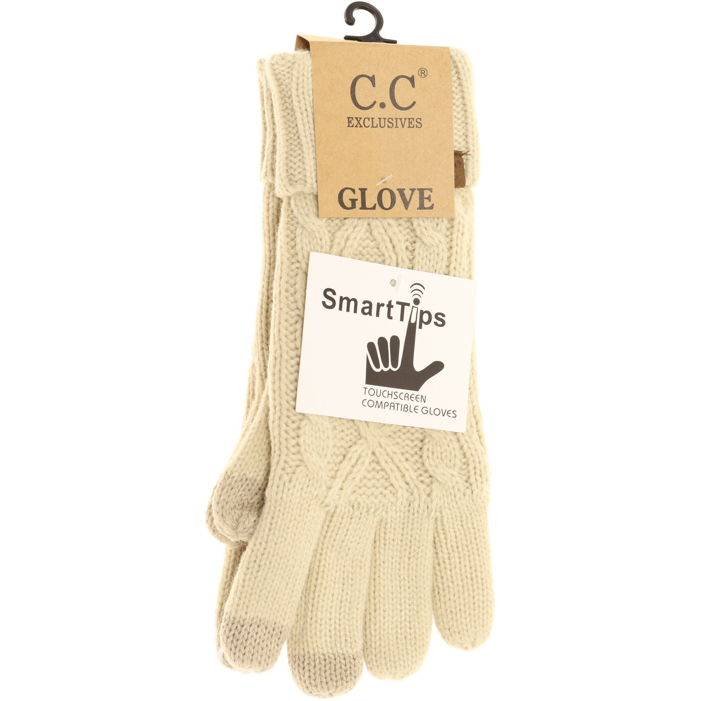 C.C Lined Cable Knit Gloves- Beige
