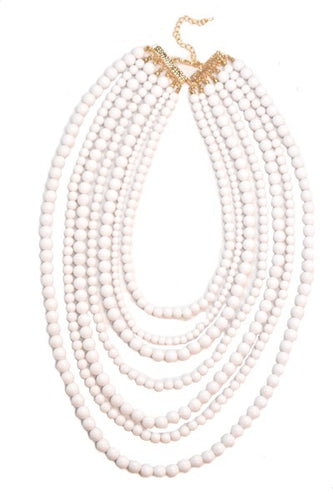 White Beaded Necklace - B60