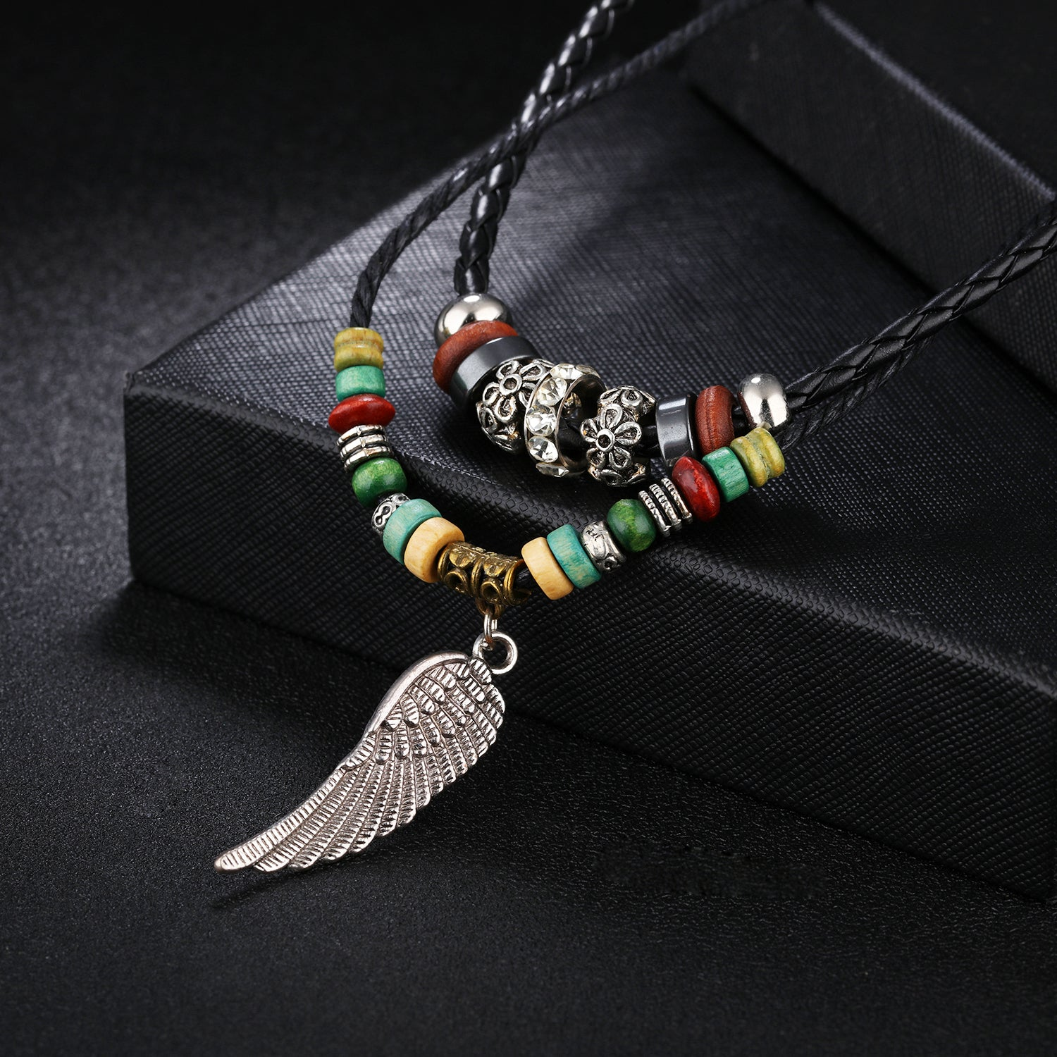 gad necklace image feather products rope regalia braided leather product