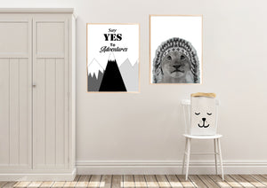 Wall Art -  Say YES to Adventures  - B/W Typography print (A-762)