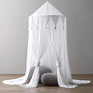 Tassel Bed Canopy -White (D-170.2)
