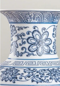 Decor - Blue and White Porcelain Look China Vase  - (D-180)