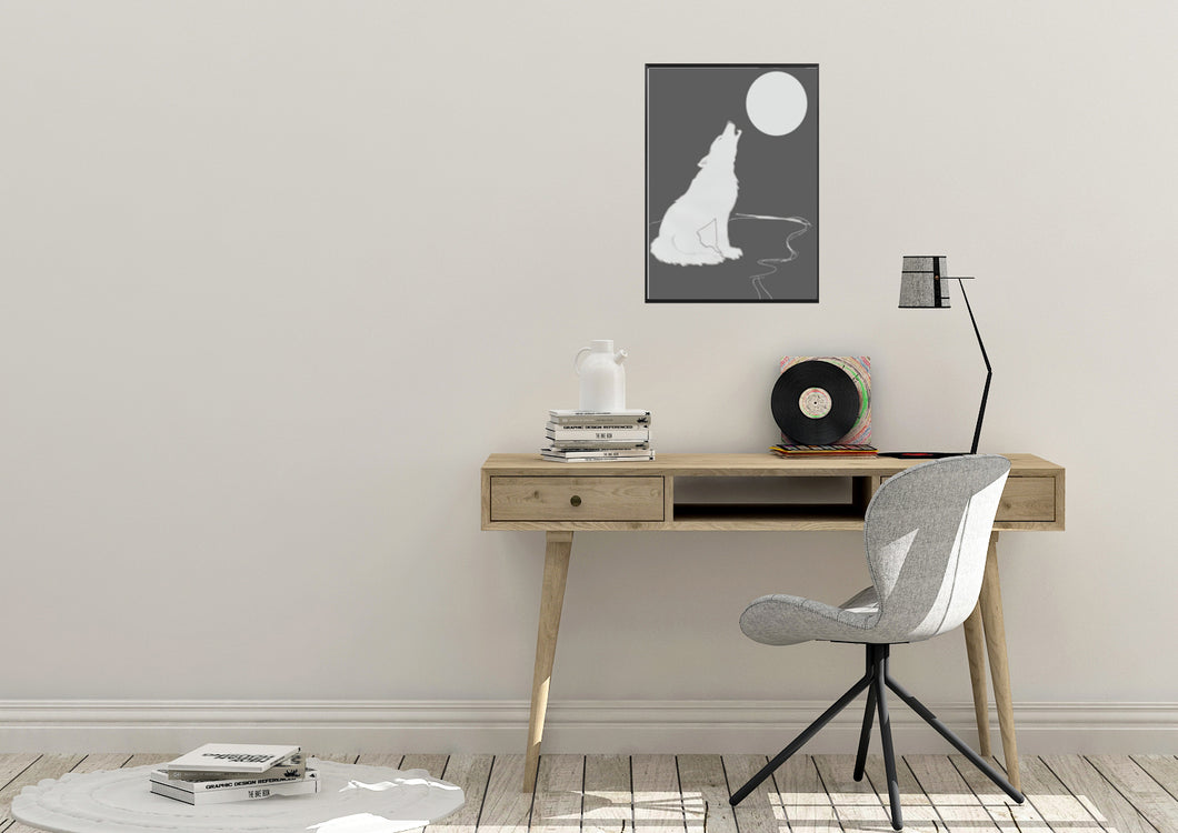 Wall Art -  Howling Wolf -Grey (A-257)