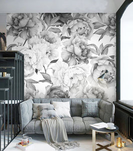 Wall Mural - Shades of Grey Floral (WM-3)