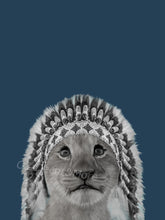 Wall Art -  Warrior Lion cub on Blue (A-416)