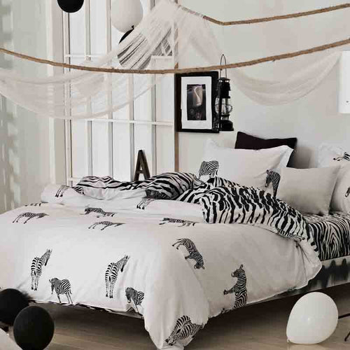 Bedding -3-4 pcs Quilt Cover Set 100% Cotton- Zebra pattern (B-108)