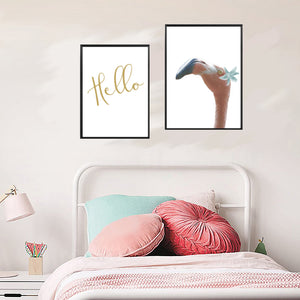Wall Art -  Penelope -Floral Flamingo - Framed / unframed art print (A-776)
