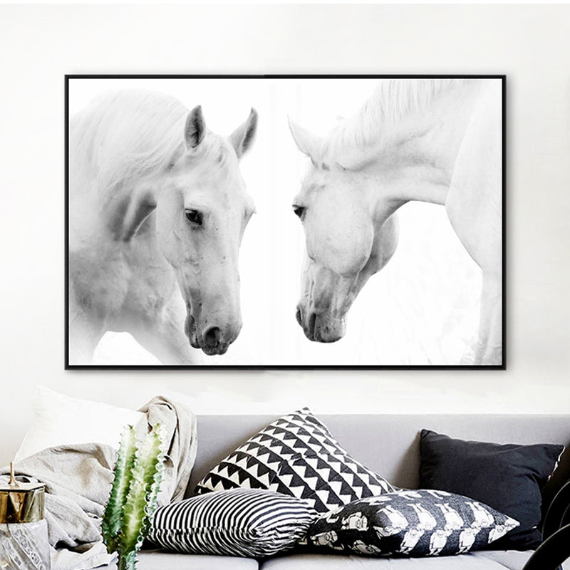 Wall art black white horse print on canvas a 136