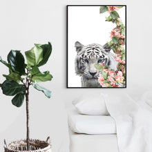 Wall Art - Floral White Tiger  - Framed / unframed art print (A-667)