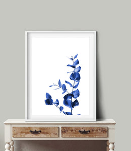 Wall Art -  Blue Leaves On White- Framed / unframed art print (A-788)