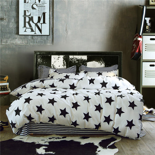 Bedding -3-4 pcs Quilt Cover Set 100% Cotton-Stars pattern (B-109)
